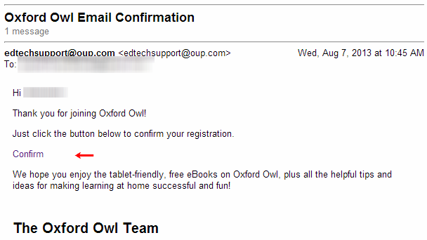 Oxford Owl Email Confirmation